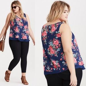 Torrid Blue Floral Chiffon Layered Tank Top Sz 3